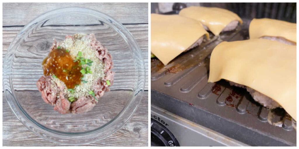 Two image collage - left image is ingredients for burgers mixed together in a glass bowl. Right image is the burgers on a indoor grill after cheese slices have been added.