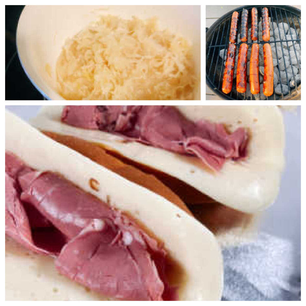 collage of the cooking process; heating the sauerkraut, grilling the hot dogs and melting assembling the hot dogs.