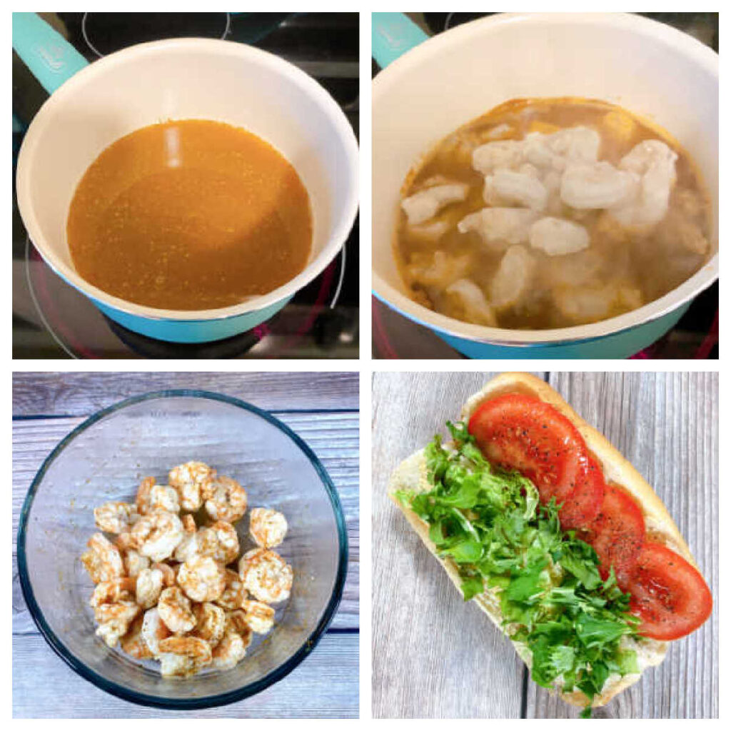 4 image collage of how to make the recipe, including steaming the shrimp and assembling the sandwich.