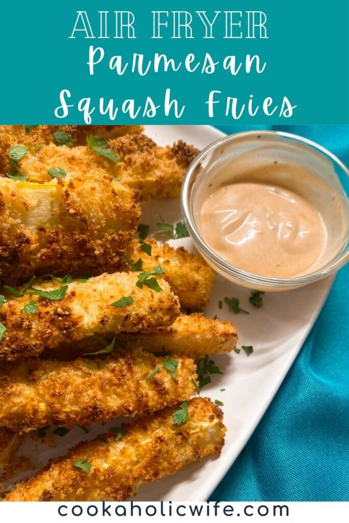 image for pinterest with text overlay of recipe title on top. Side angle of parmesan squash fries on a white plate.