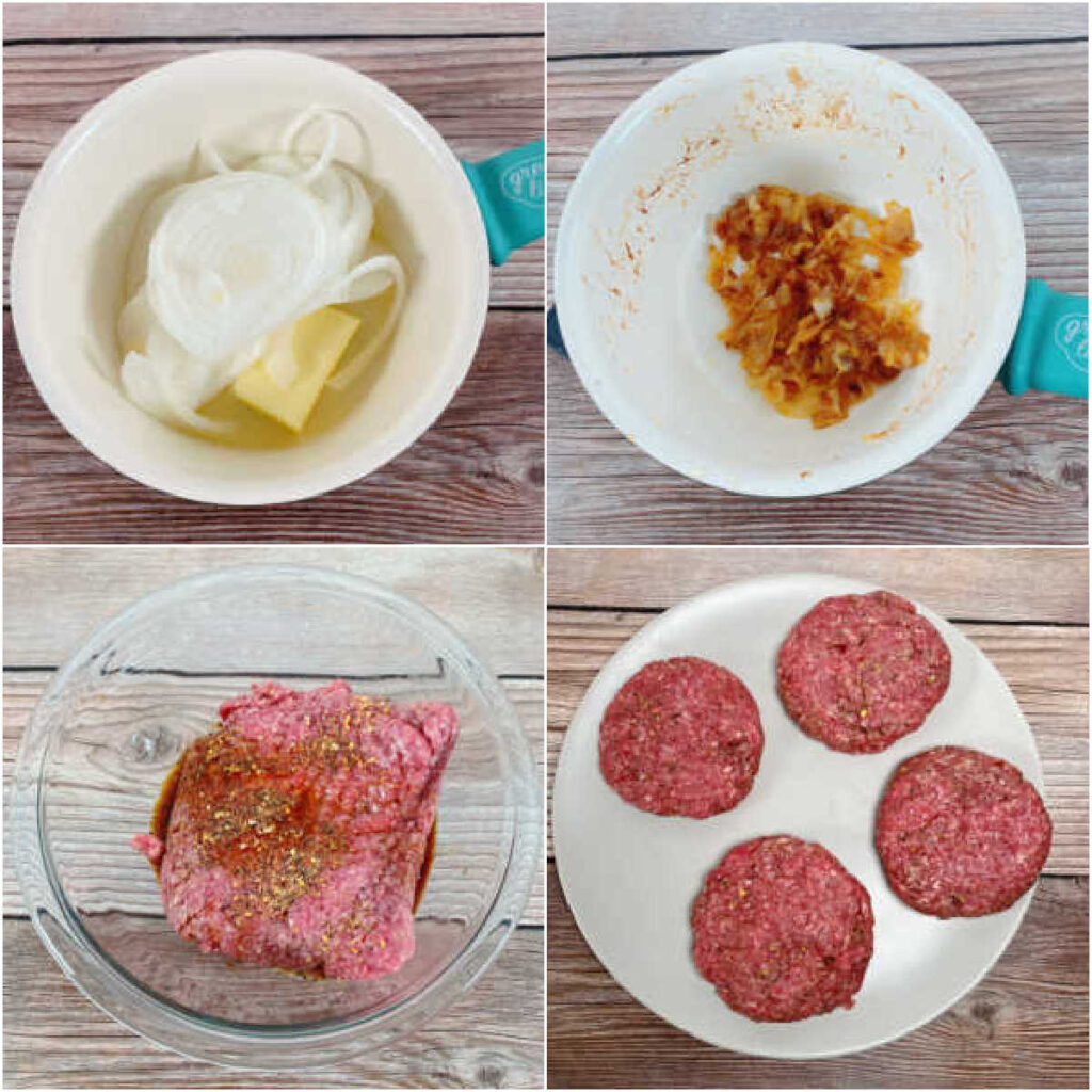 four image collage of the steps to make the burgers.