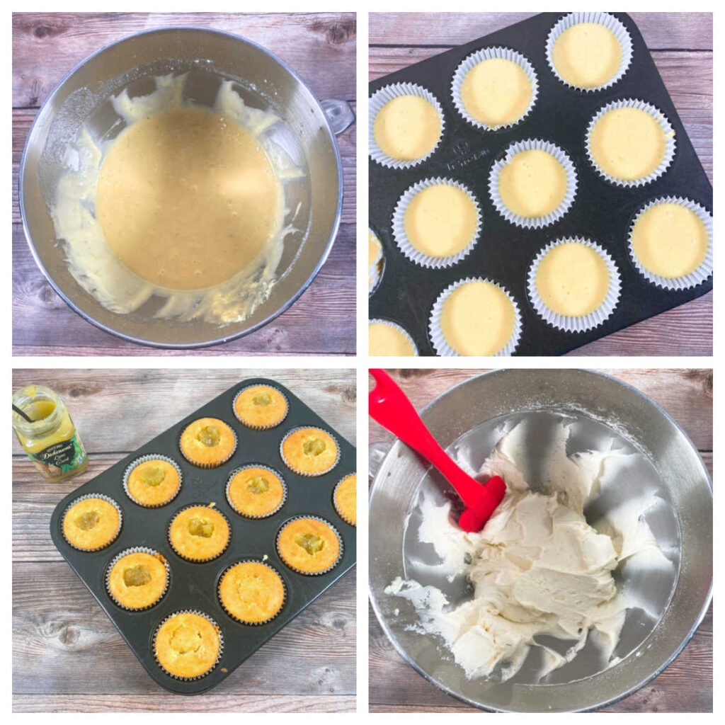 4 image collage to make the cupcakes.