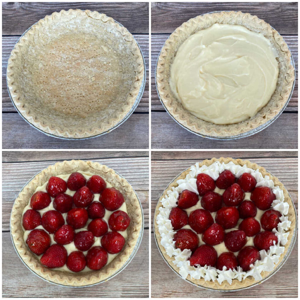 four image collage of the steps to make the pie; baking the shell, filling with pudding, adding the glazed strawberries and decorating with whipped cream