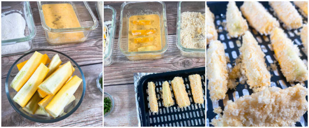 three image collage of the steps to prepare the recipe