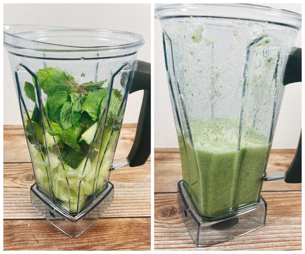 two image collage - left image: all ingredients in a blender. right image: ingredients blended up