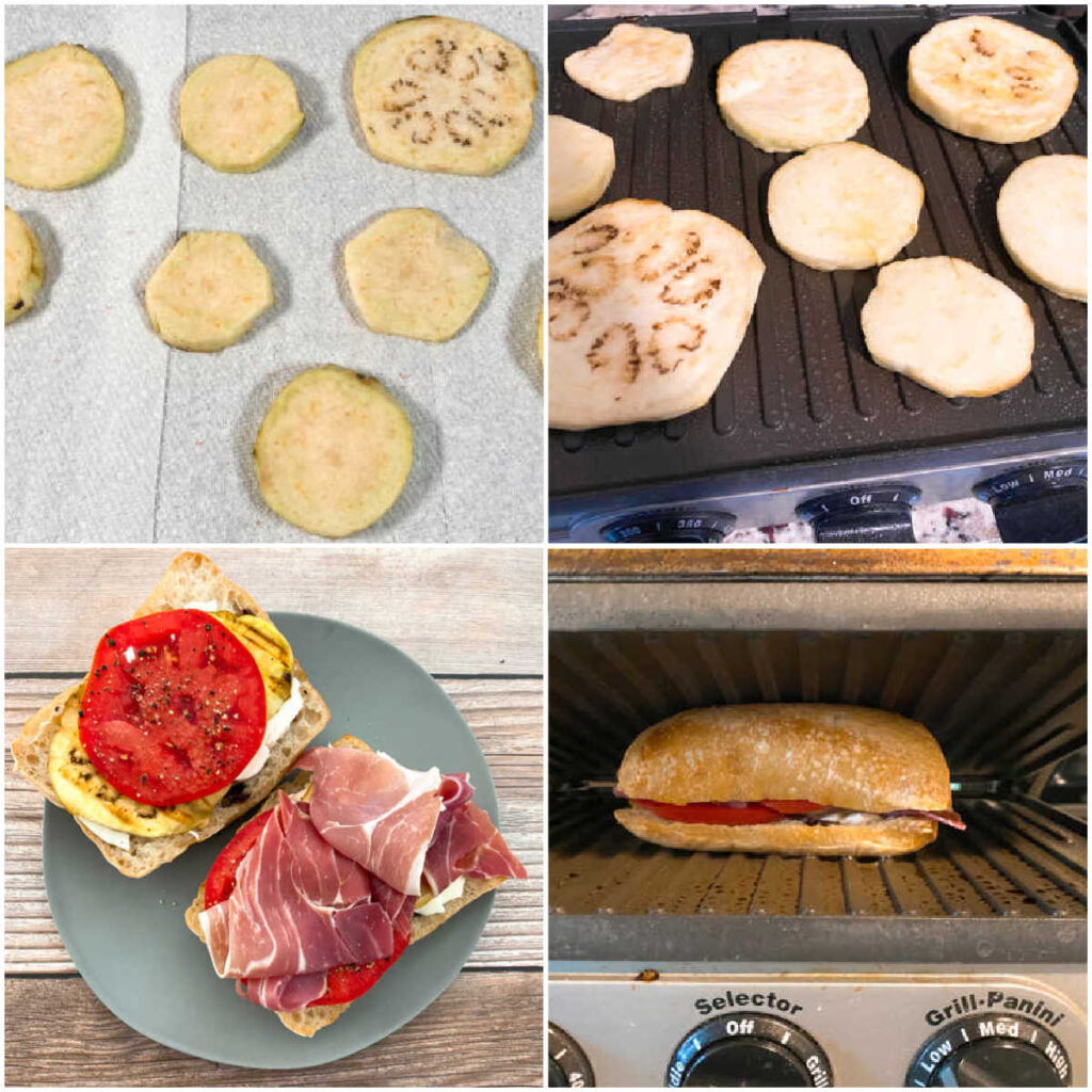 four image collage of the steps to prepare this sandwich.