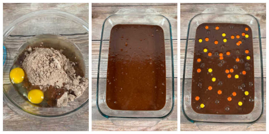 process shot collage, showing the steps to prepare the brownies for baking.