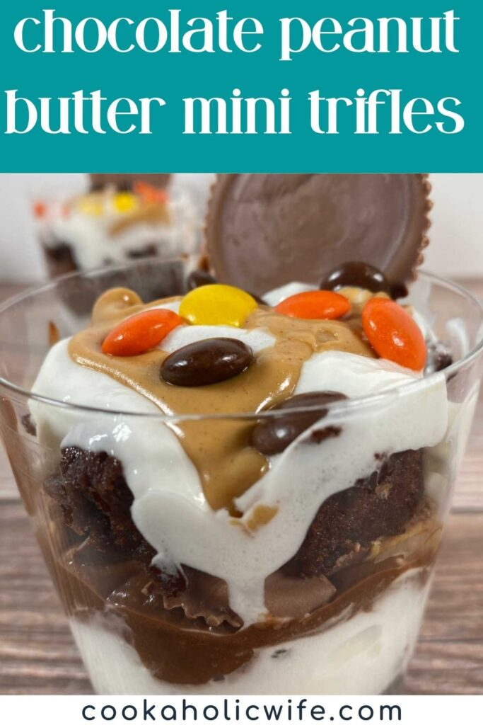 Image for Pinterest with text overlay of recipe title at top. Close up image of trifle to show the layers and candies on top.