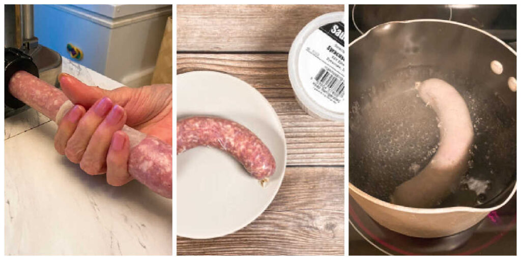 three image collage of the final steps of making the kielbasa; processing through the machine, the casing, boiling the sausage.