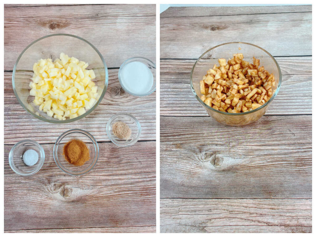 process shots, showing the diced up apple and then it mixed with the other ingredients.